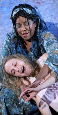 A'lisa D. Miles as The River and Jennifer Blood as Rosemary in The Flood