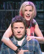 Jenn Colella as Laura and Will Chase as Rob in High Fidelity<br>