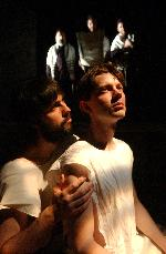 David Covington as Azriel and Karl Miller as Ziesl in <I>Passing The Love OF Women</I at Theater J.  Photo by Stan Barouh
