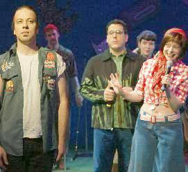 David Driver as Xanthus, John Flansburgh as Russ, Robin Goldwasser as Joyce (rear),  Erin Hill as Terri<