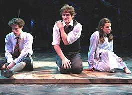John Gallagher Jr,  Jonathan Groff and Lea Michele