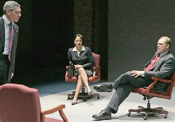 Peter Francis James as Colin Powell, Gloria Reuben as Condoleeza Rice, Jay O. Sanders as George W. Bush  in <i>Stuff Happens </i> at the Public Theater